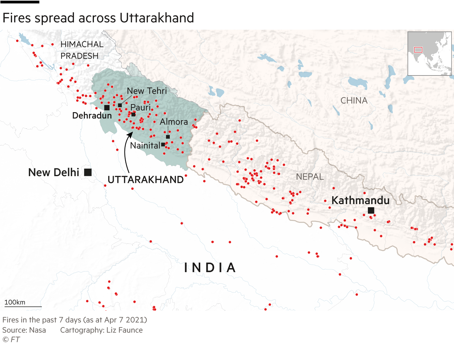 Fires spread across Uttarakhand state in India, climate map